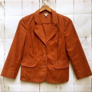 J Jill Blazer Rust Burnt Orange Fall Jacket